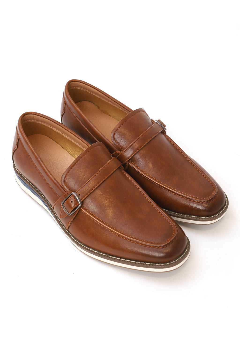 BUCKLED SLIP ONS-BROWN