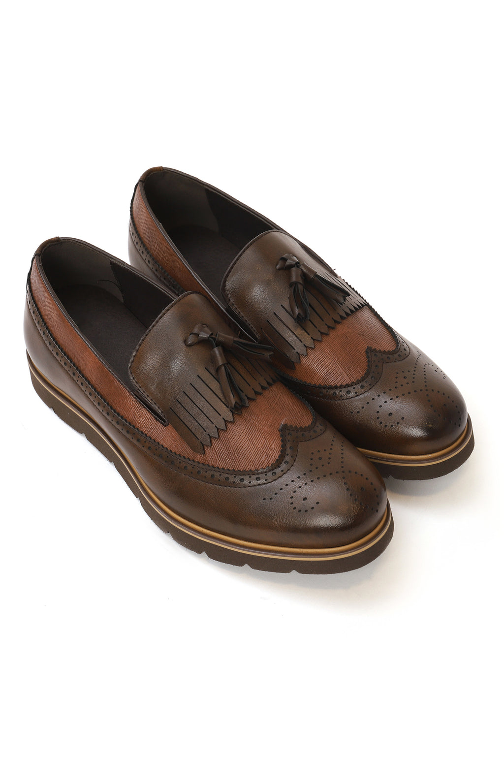 FRINGED BROGUES-COFFEE