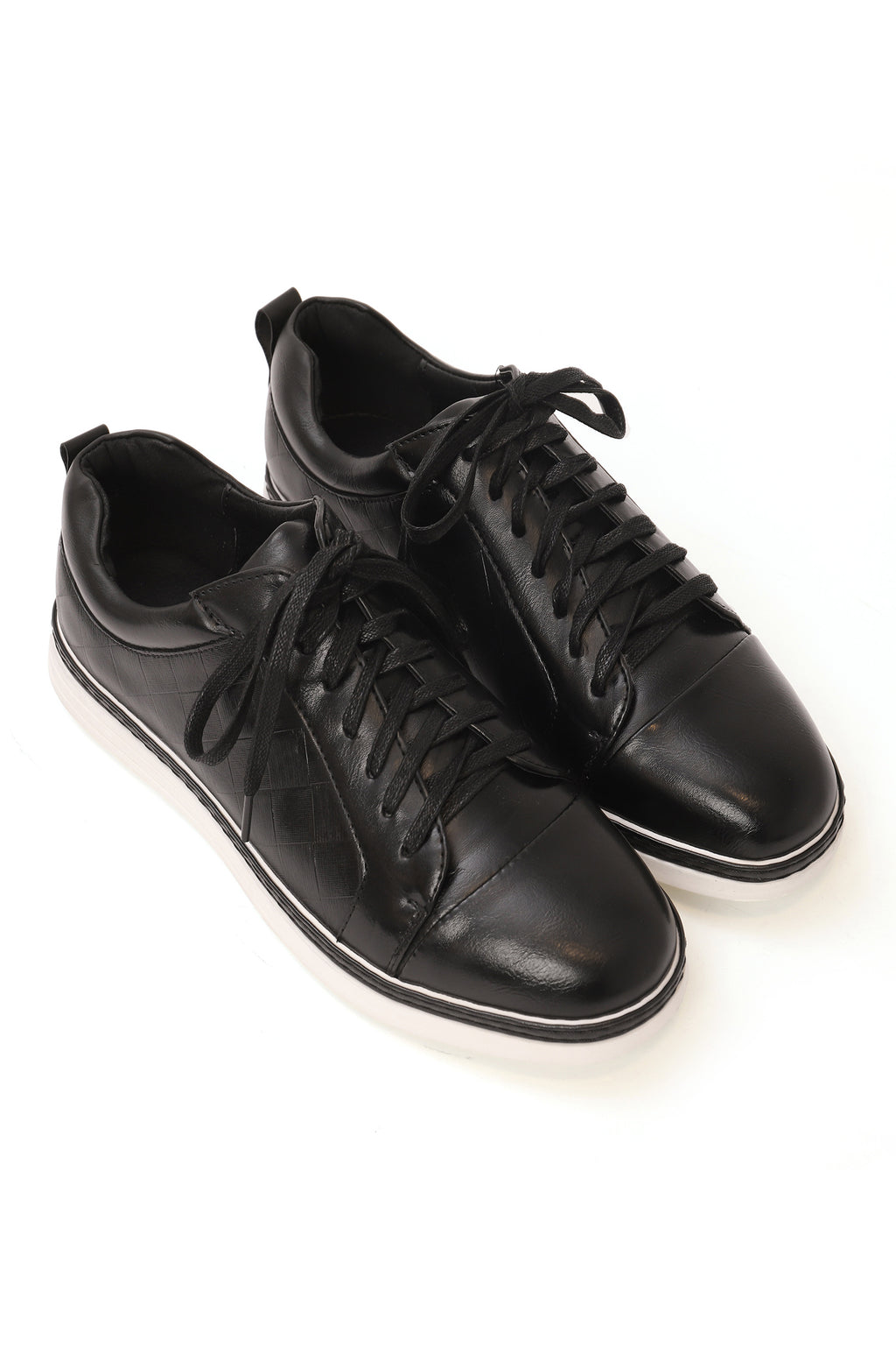 LEATHER SNEAKERS-BLACK