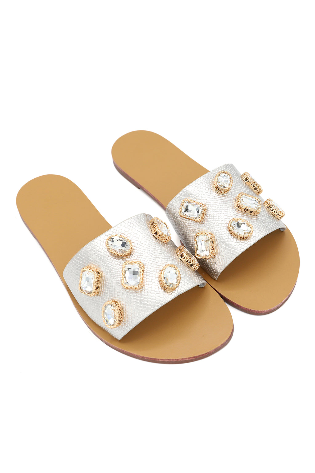 JEWEL SLIDES-SILVER