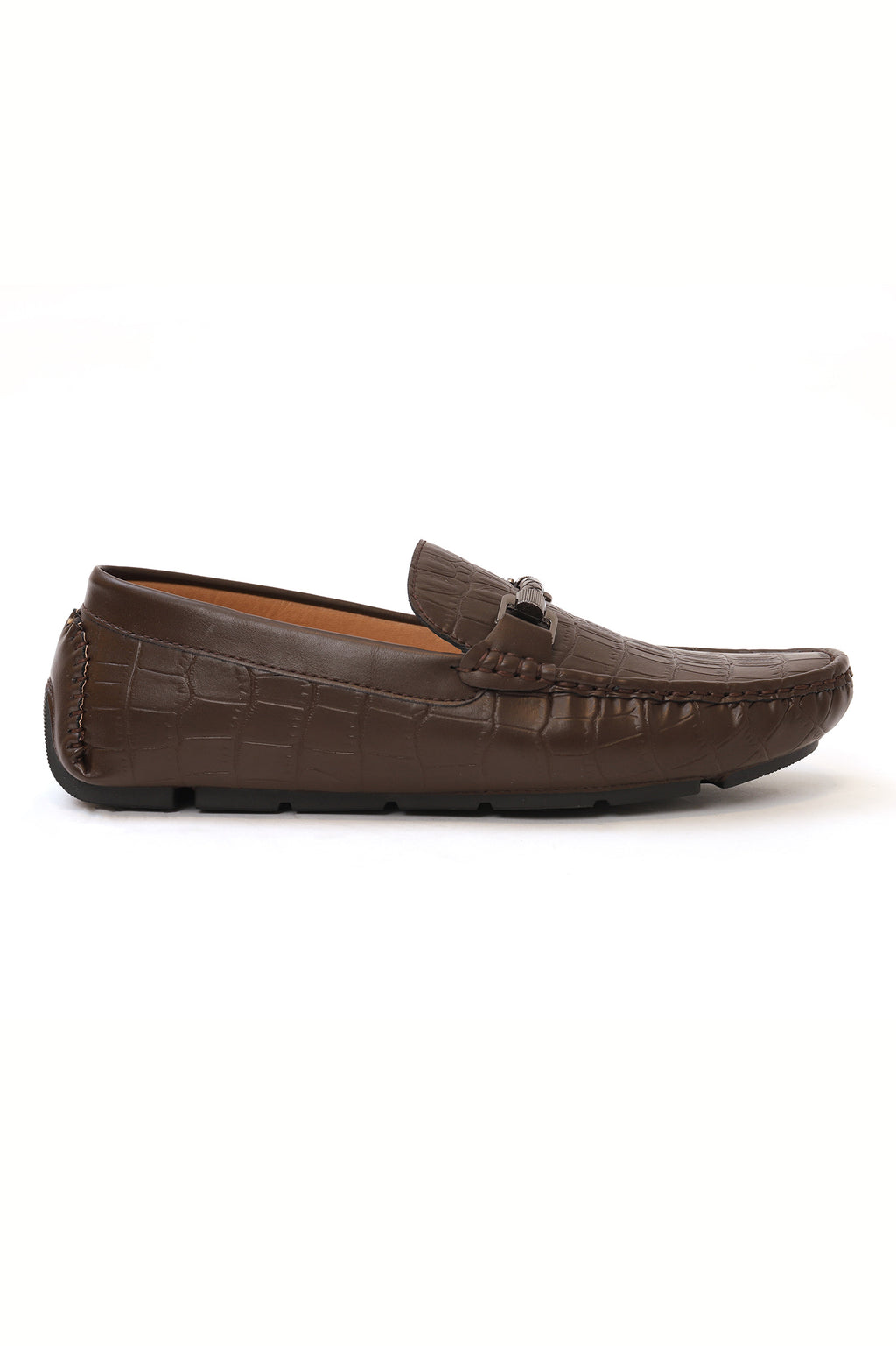 CROC SKIN LOAFERS-COFFEE
