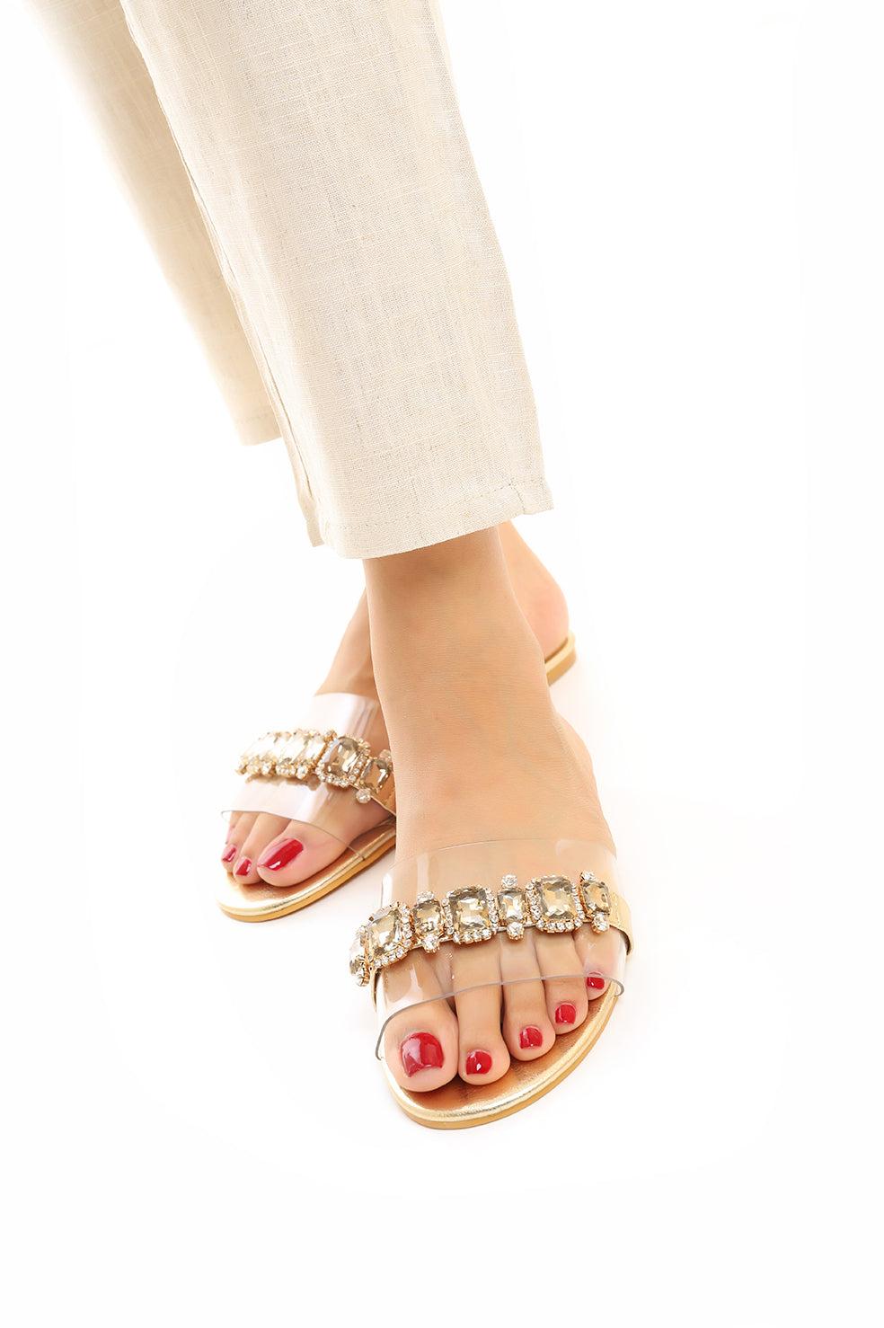 JEWELED FLATS -GOLD
