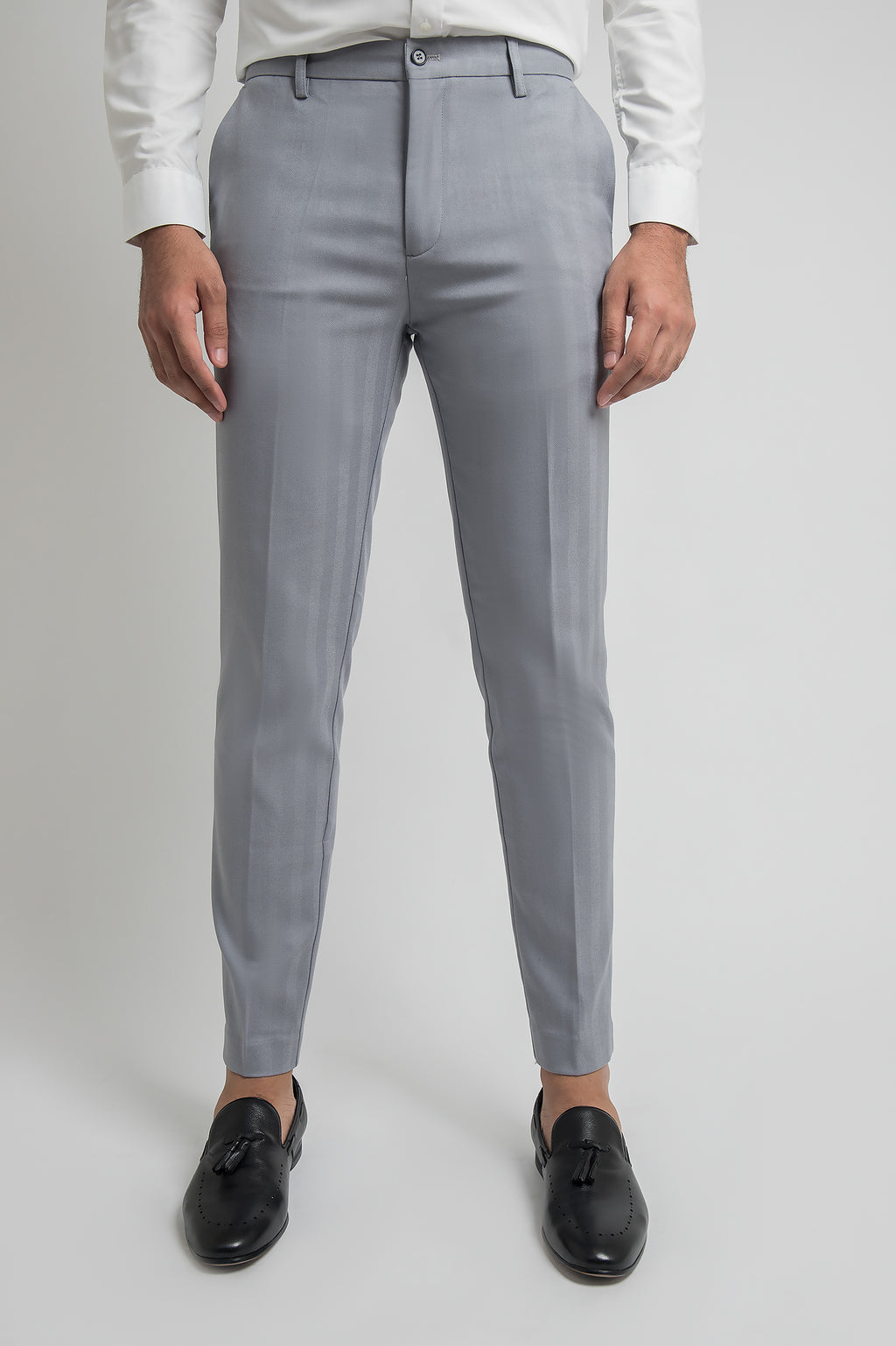 HERRINGBONE TROUSERS-GREY
