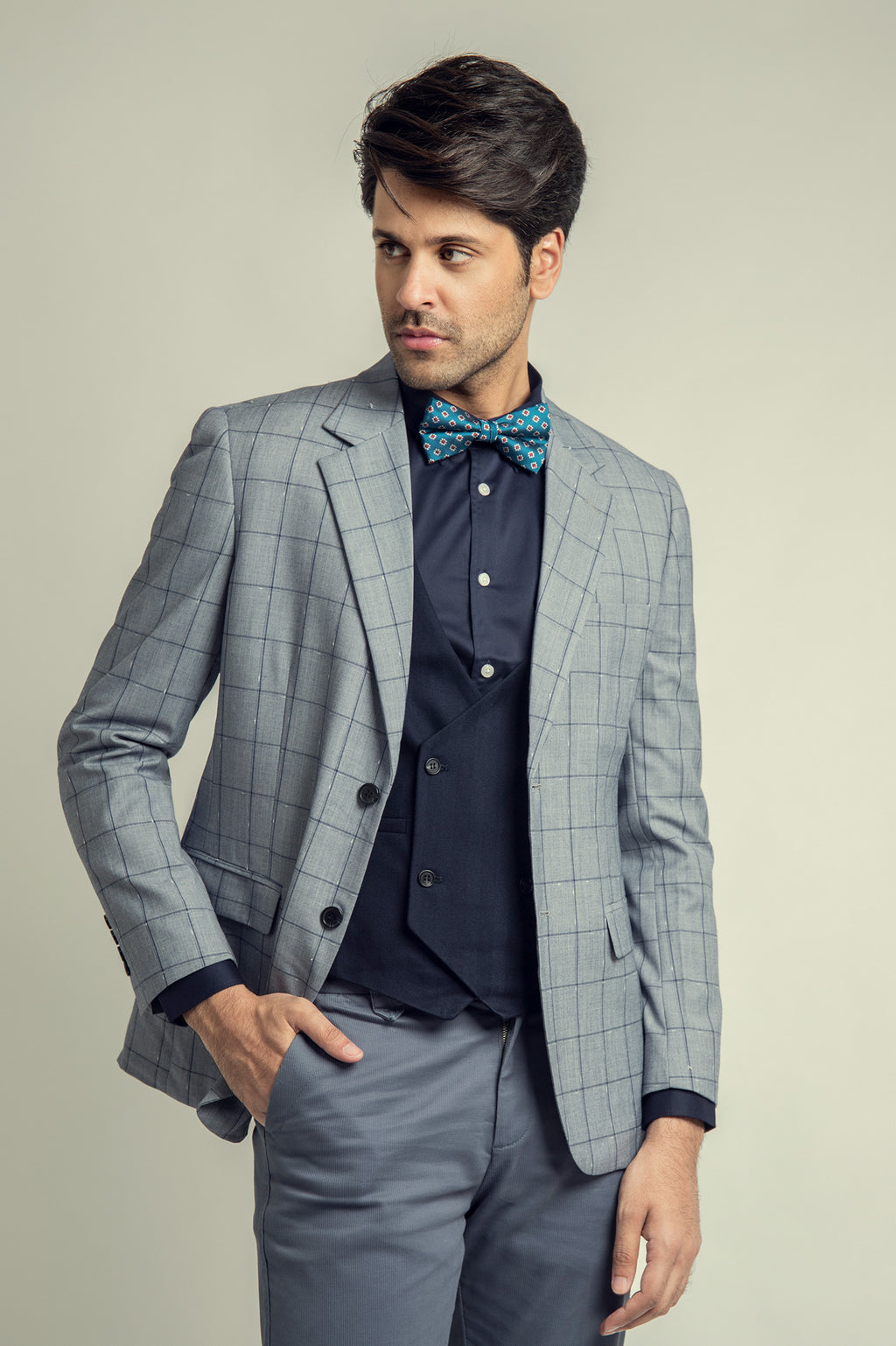 WINDOWPANE BLAZER -LIGHT-BLUE