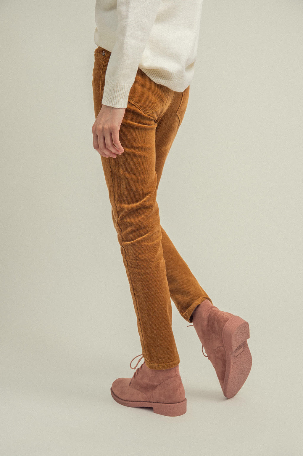CORDUROY PANTS-BROWN