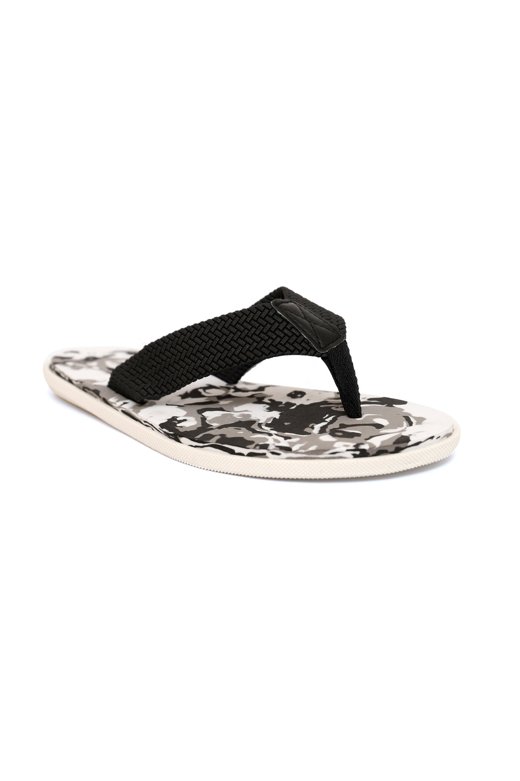 CAMO SLIPPERS-BLACK/WHITE