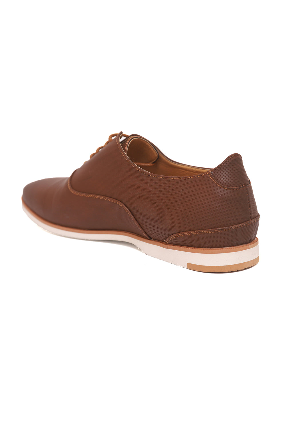 PERFORATED LACE UPS-BROWN
