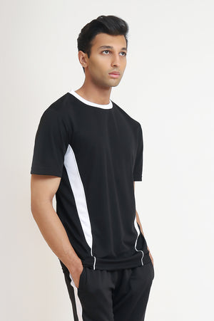 PANEL ATHLETIC T-SHIRT -BLACK/WHITE