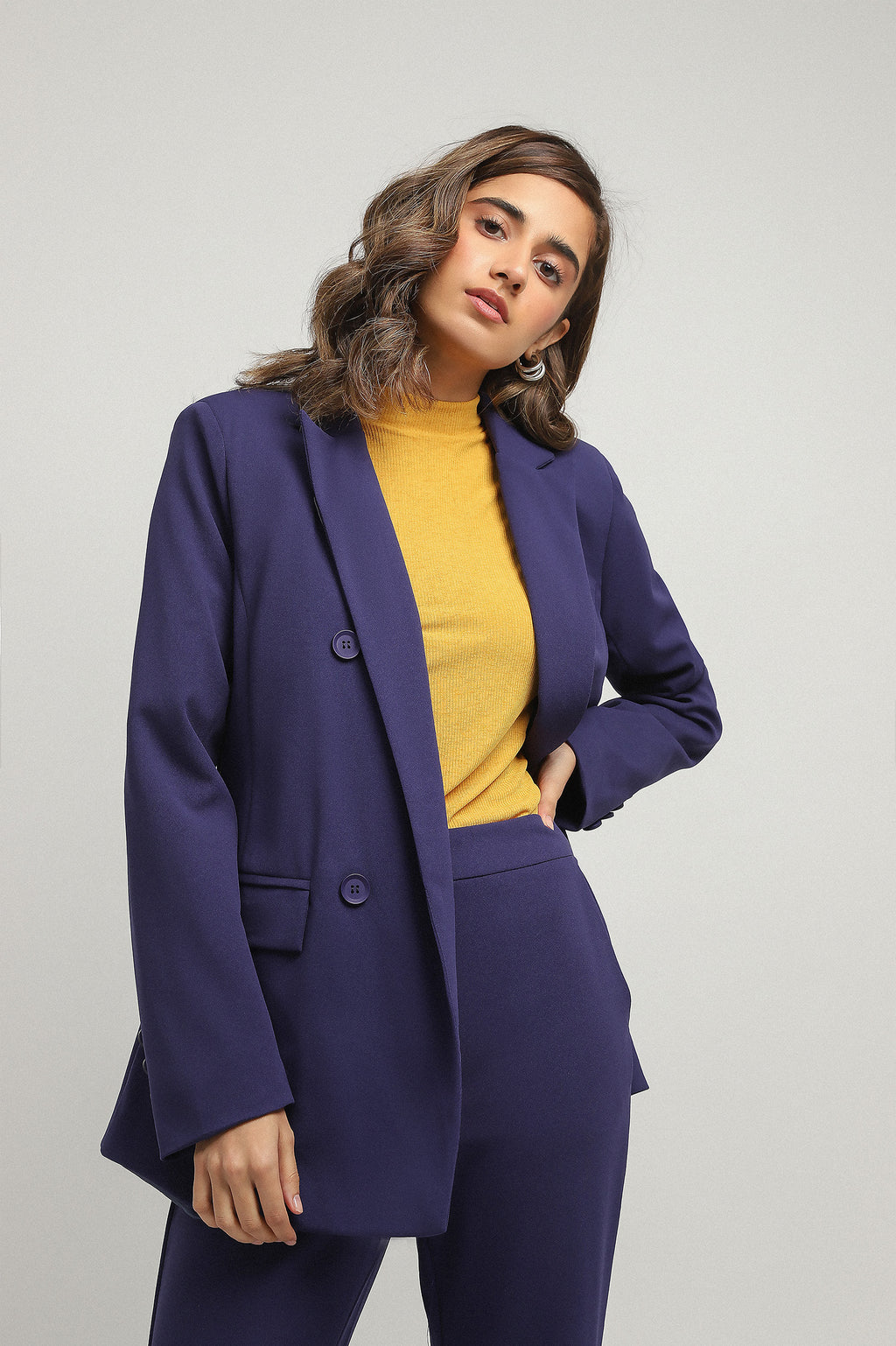 DOUBLE BREASTED BLAZER-NAVY