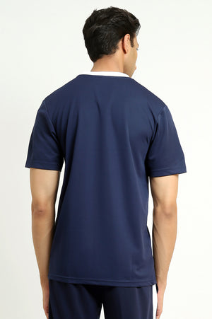 PANEL ATHLETIC T-SHIRT -NAVY/WHITE