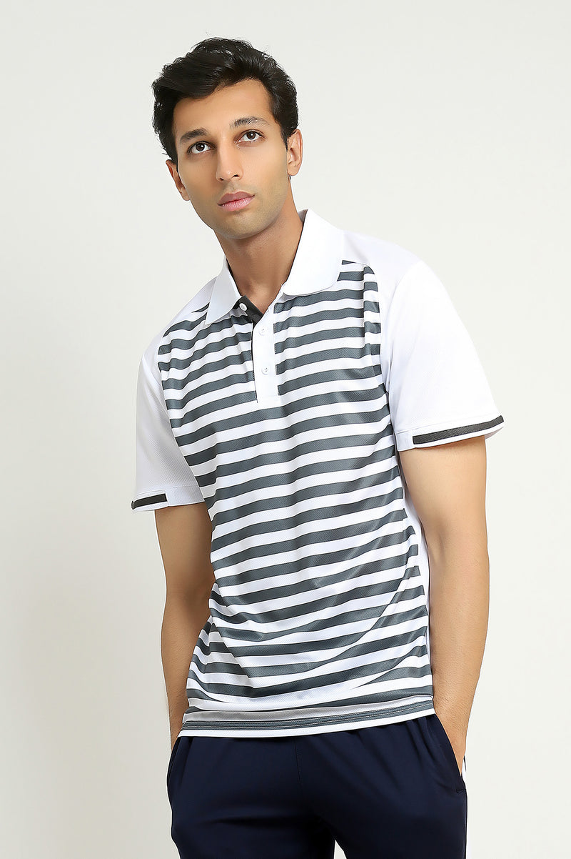 CONTRAST STRIPED POLO-WHITE/GREY