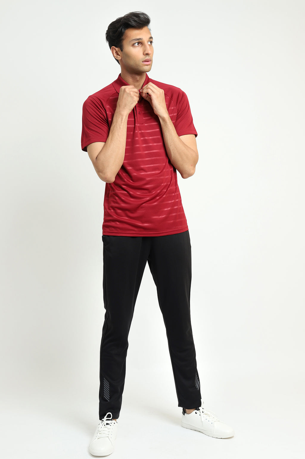 NEOPRENE STRIPE POLO-MAROON