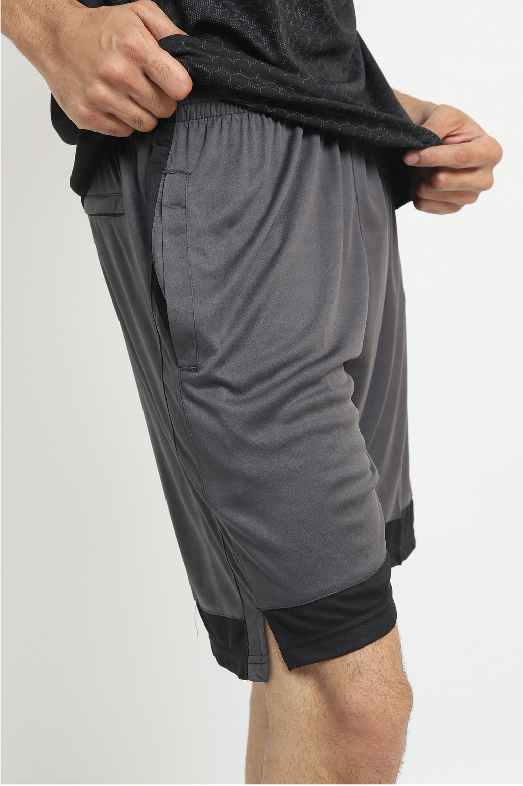 ACTIVE COLOURBLOCK SHORTS -GREY/BLACK