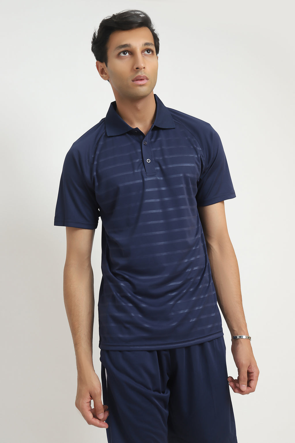 NEOPRENE STRIPE POLO-NAVY