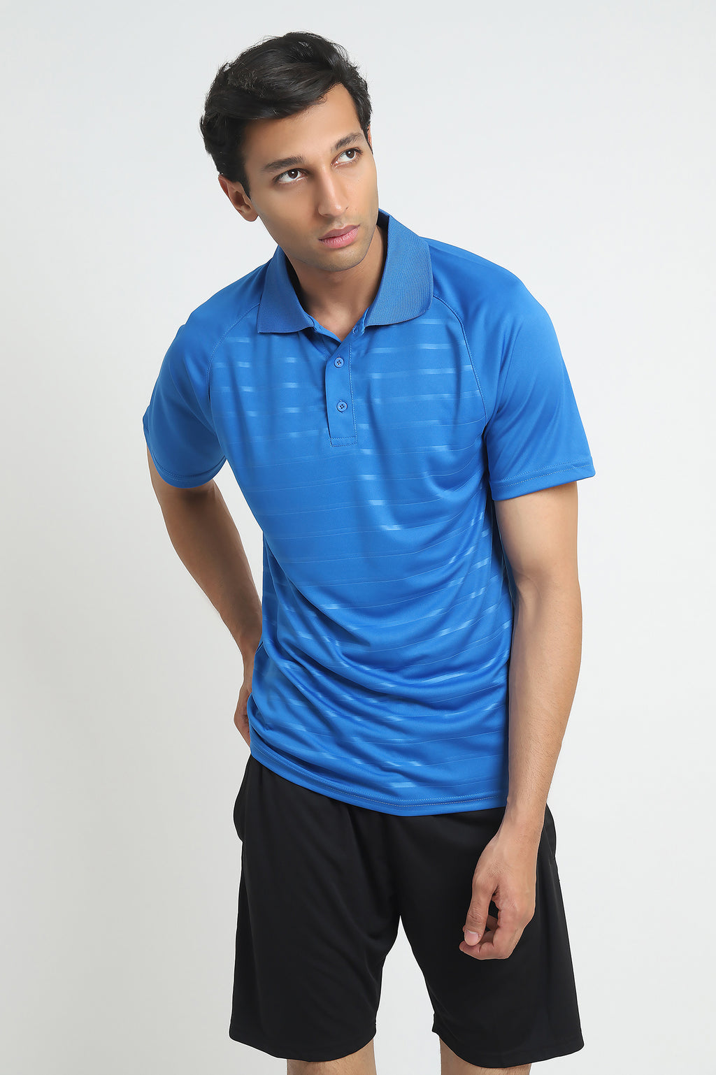 NEOPRENE STRIPE POLO-LIGHT-BLUE