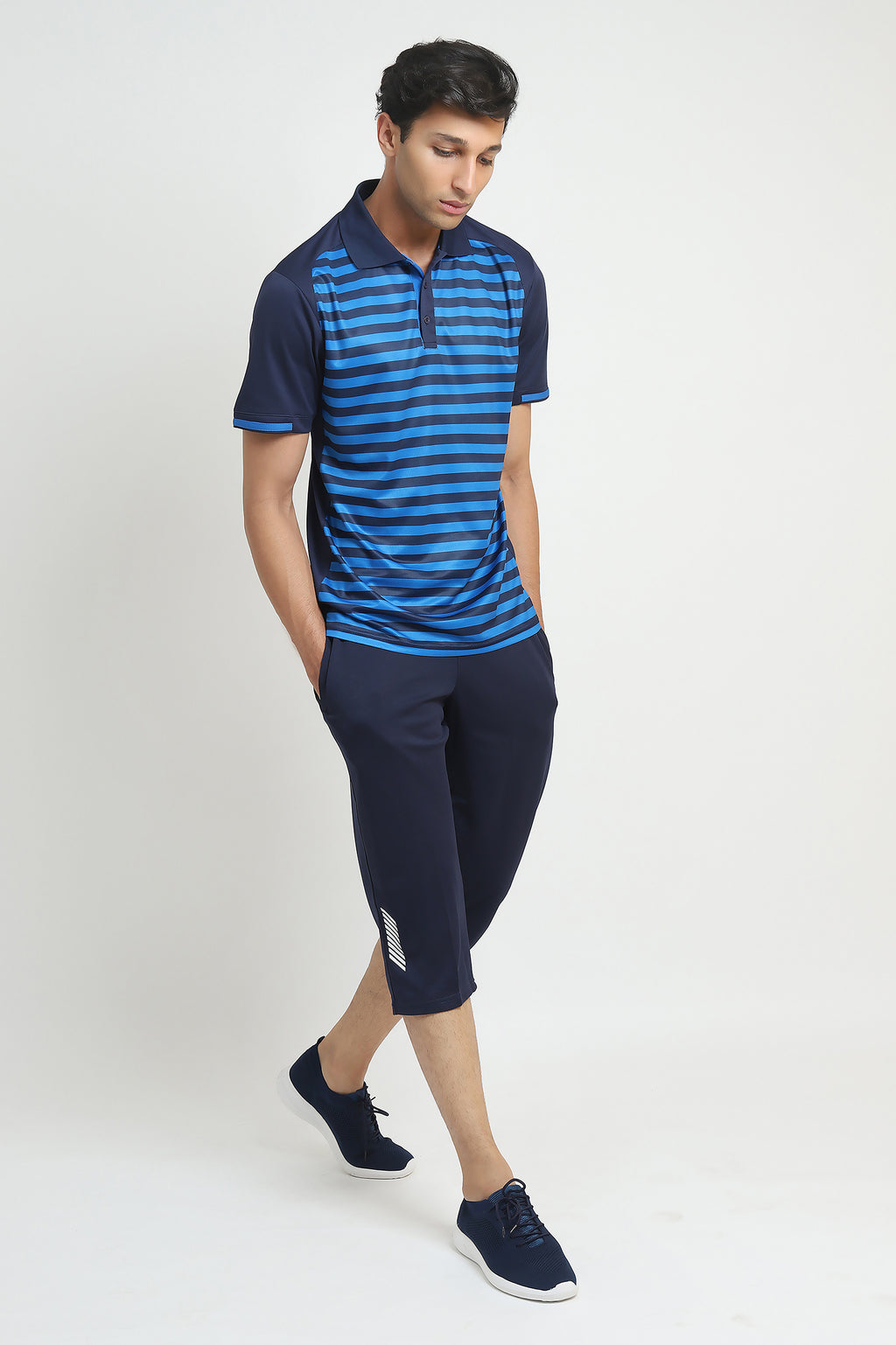 CONTRAST STRIPED POLO-NAVY