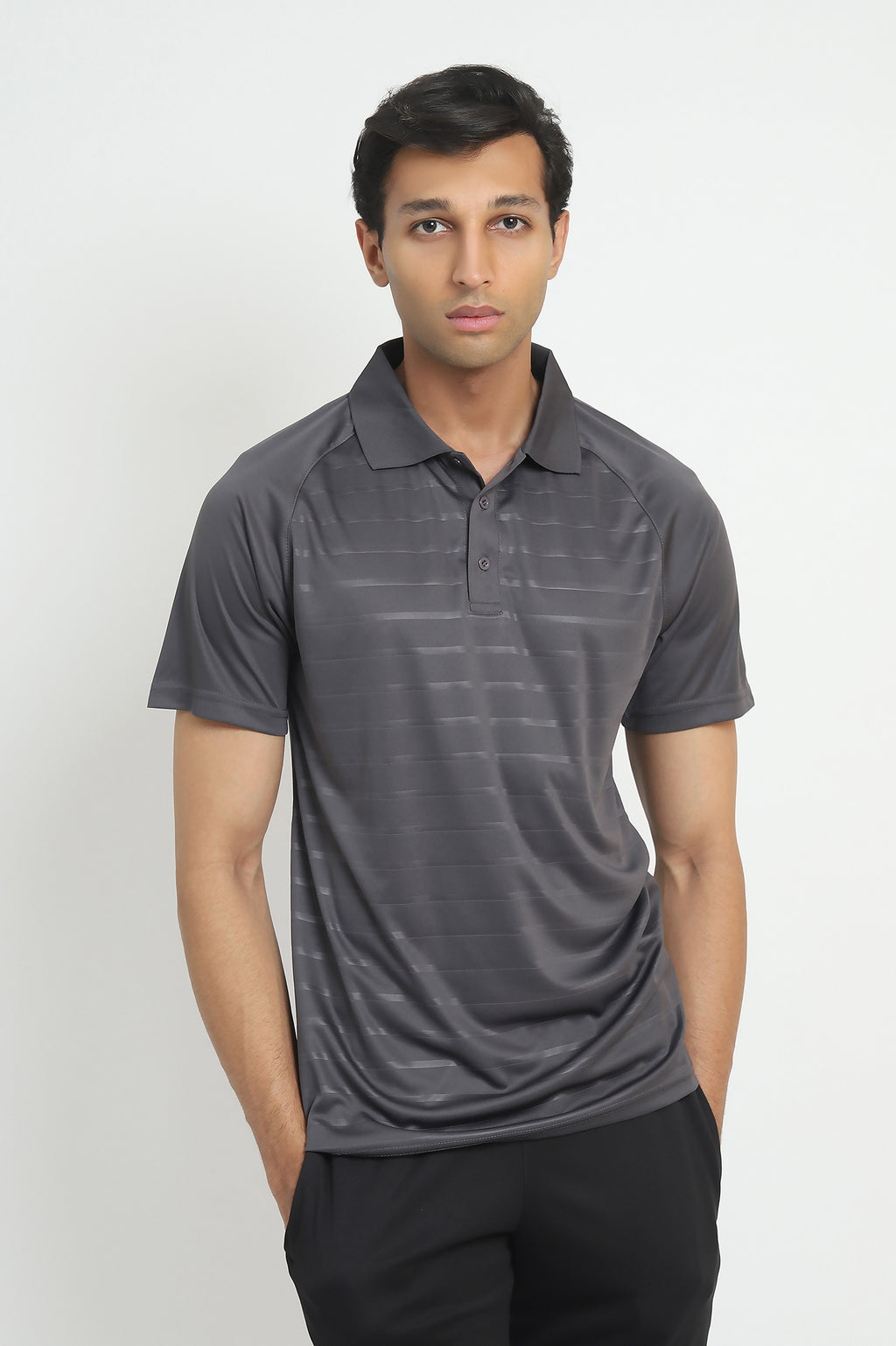 NEOPRENE STRIPE POLO-DARK-GREY