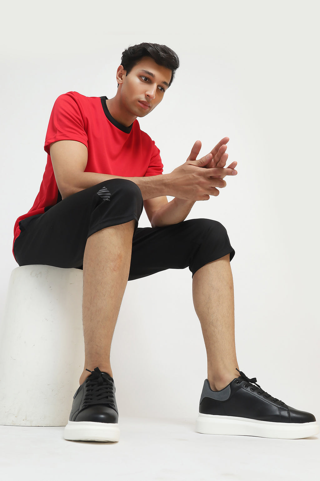 PANEL ATHLETIC T-SHIRT -RED/BLACK