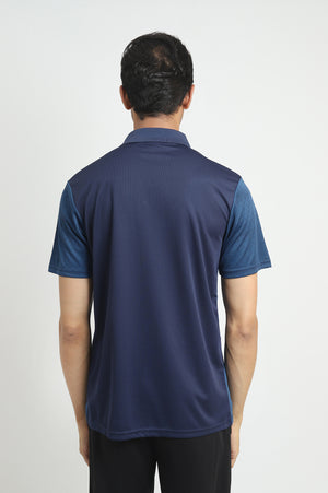 TEXTURED COLOUR POLO-NAVY