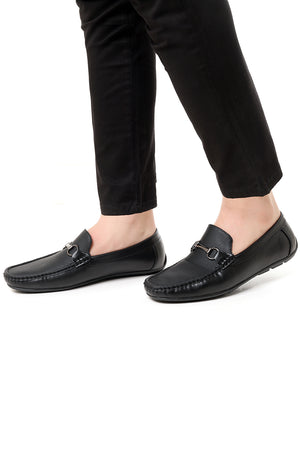 CROSS EMBOSSED LOAFERS-BLACK