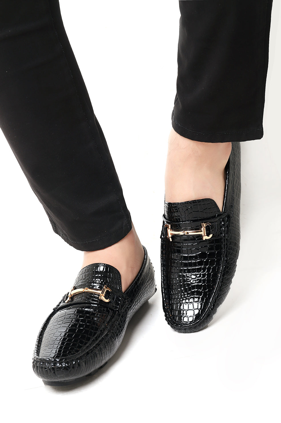 CROC SKIN LOAFERS-BLACK