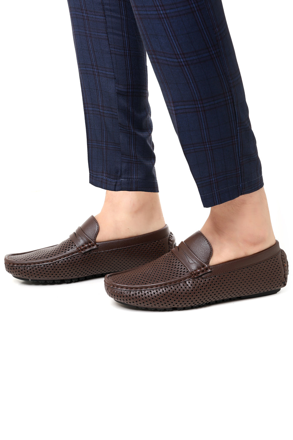 PERFORATED LOAFERS-COFFEE