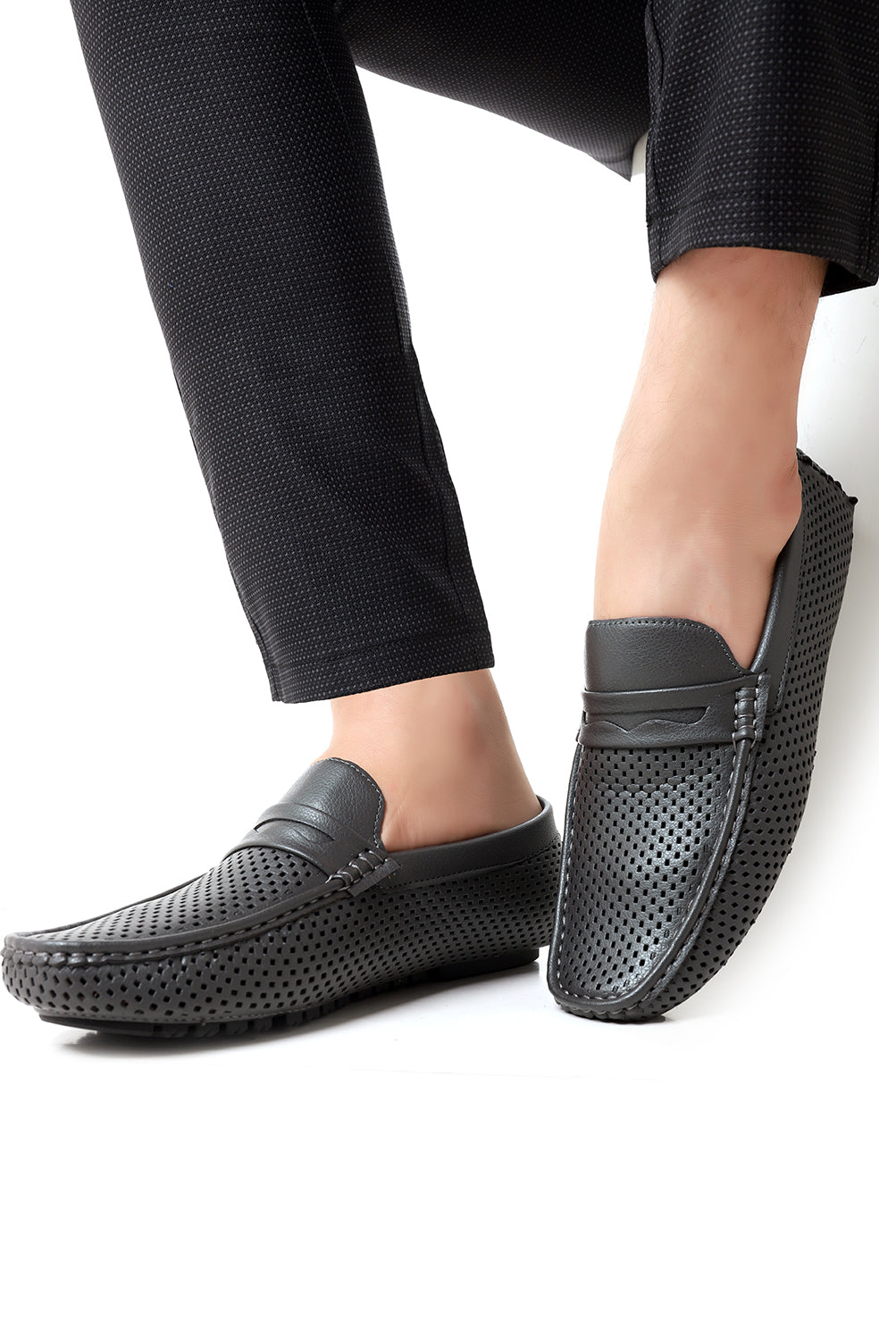 PERFORATED LOAFERS-GREY