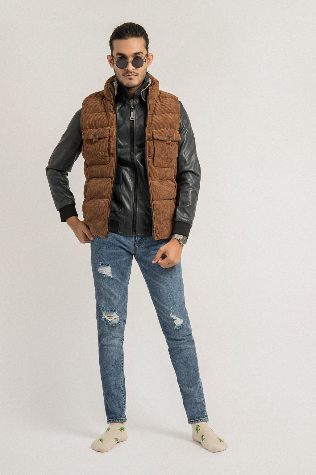 CORDUROY GILET-COFFEE