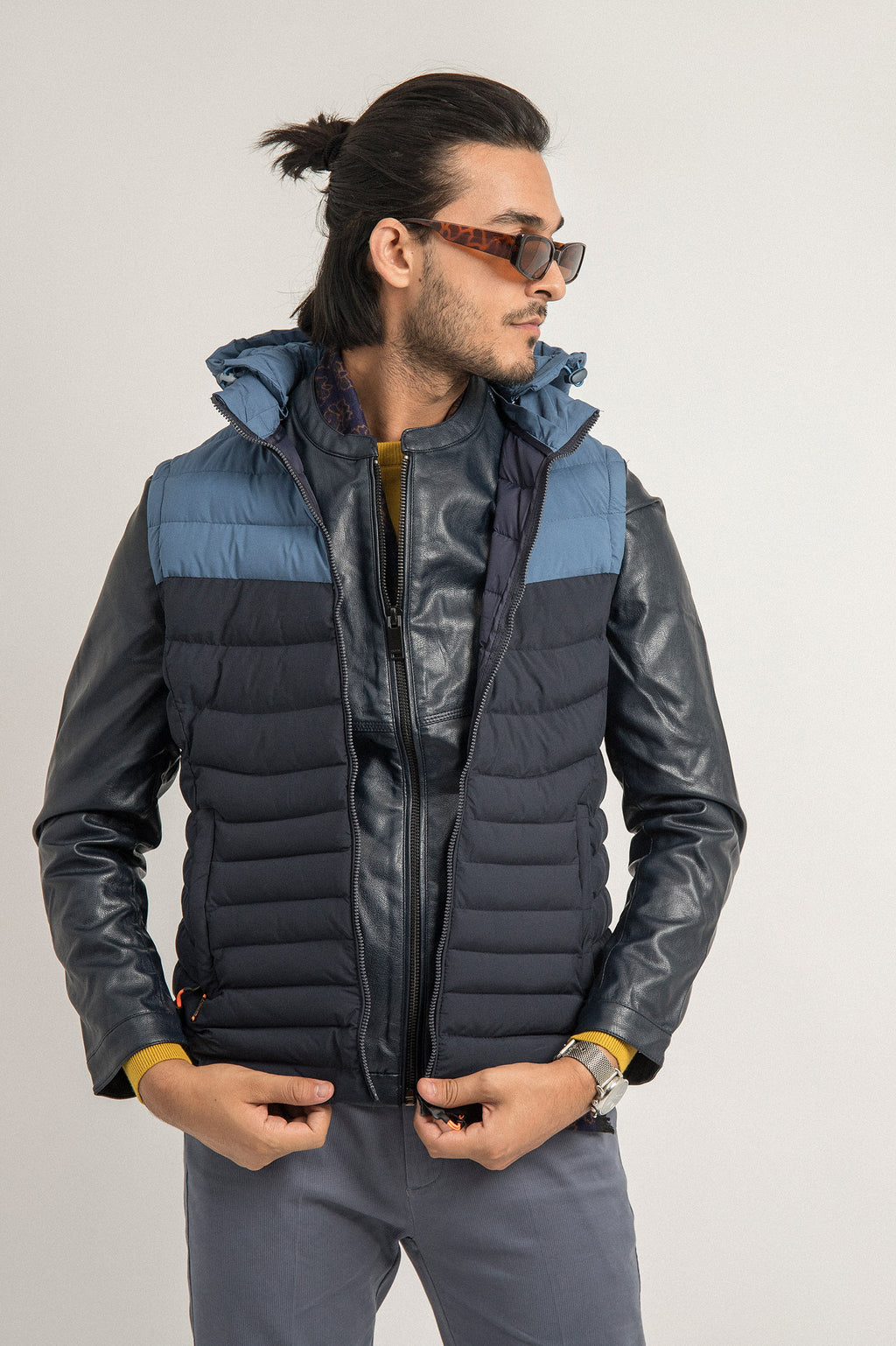DUO PUFFER VEST-BLUE