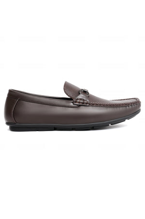 CROSS EMBOSSED LOAFERS-COFFEE