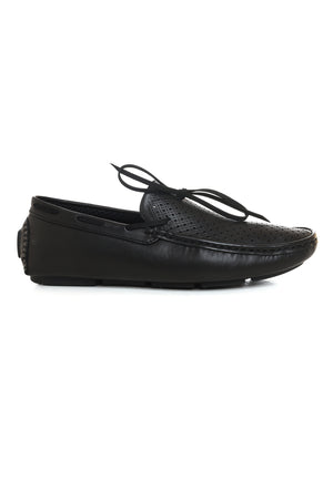 MESH PERFORATED LOAFERS-BLACK
