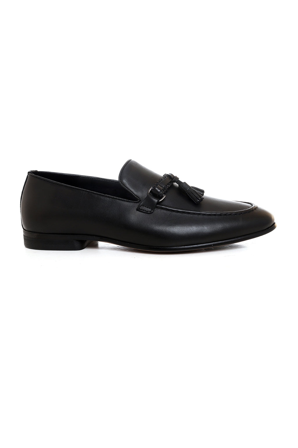TEXTURED TASSEL SLIP ONS-BLACK