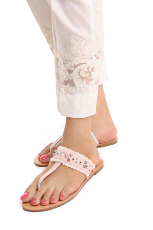 STUDDED THONG SLIPPERS-BEIGE