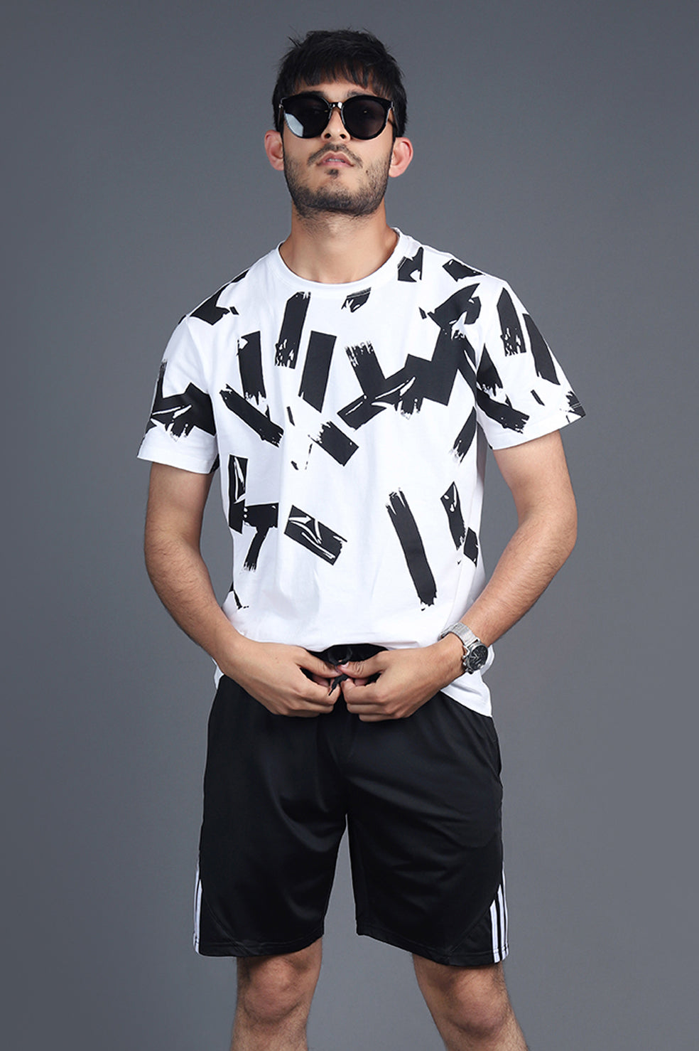 ABSTRACT PATTERN T-SHIRT-WHITE