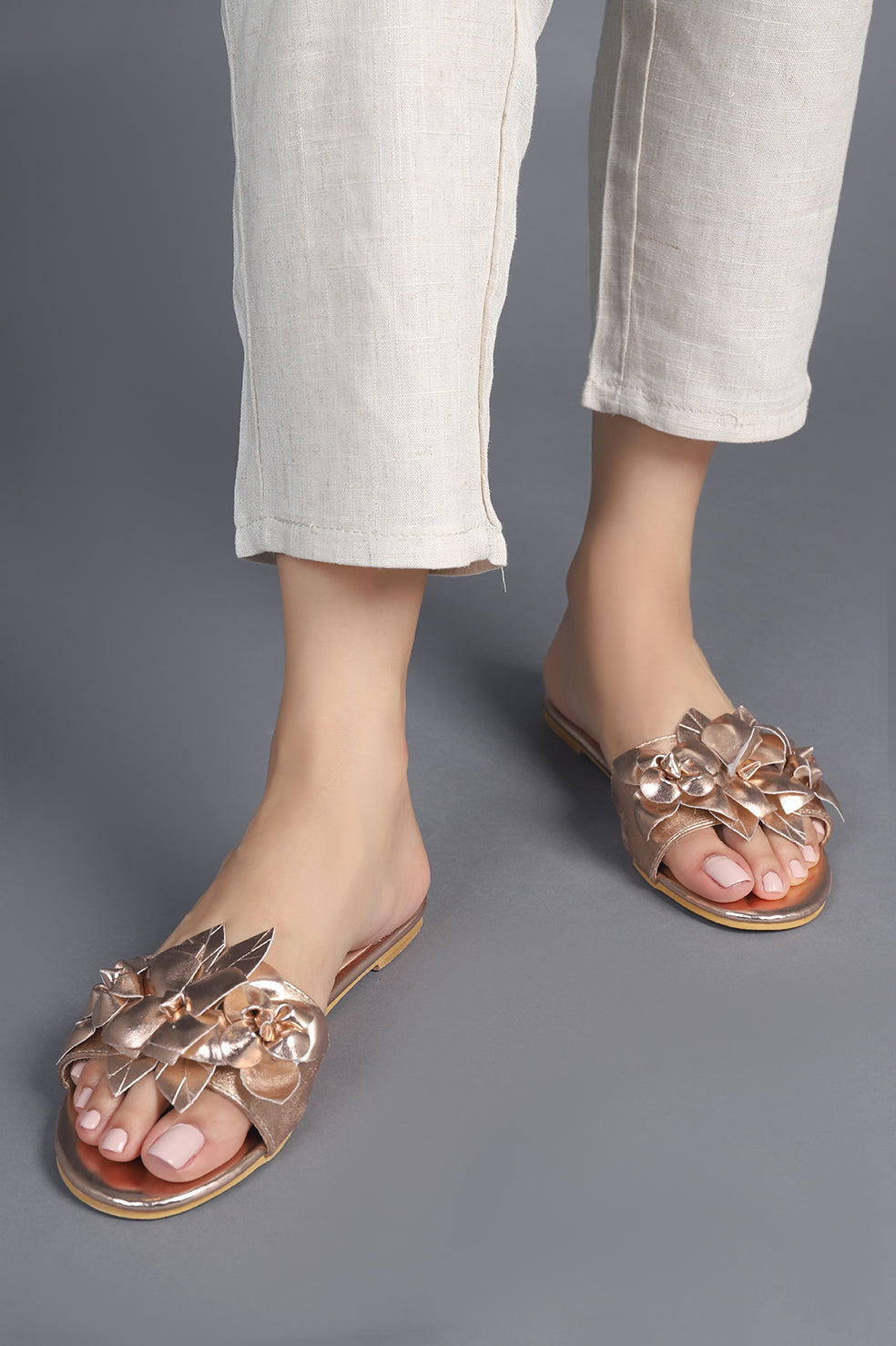 FLORAL ORNATE FLATS-CHAMPAGNE