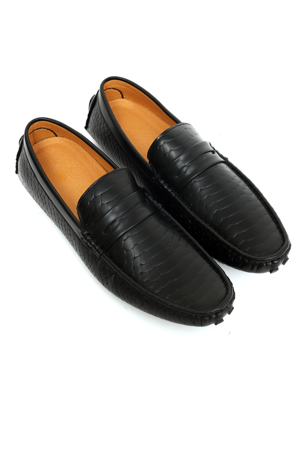 CROC TEXTURED LOAFERS-BLACK