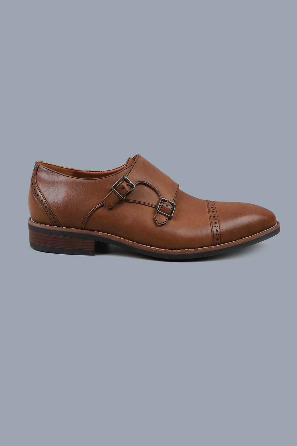 DOUBLE MONK SHOES-COFFEE