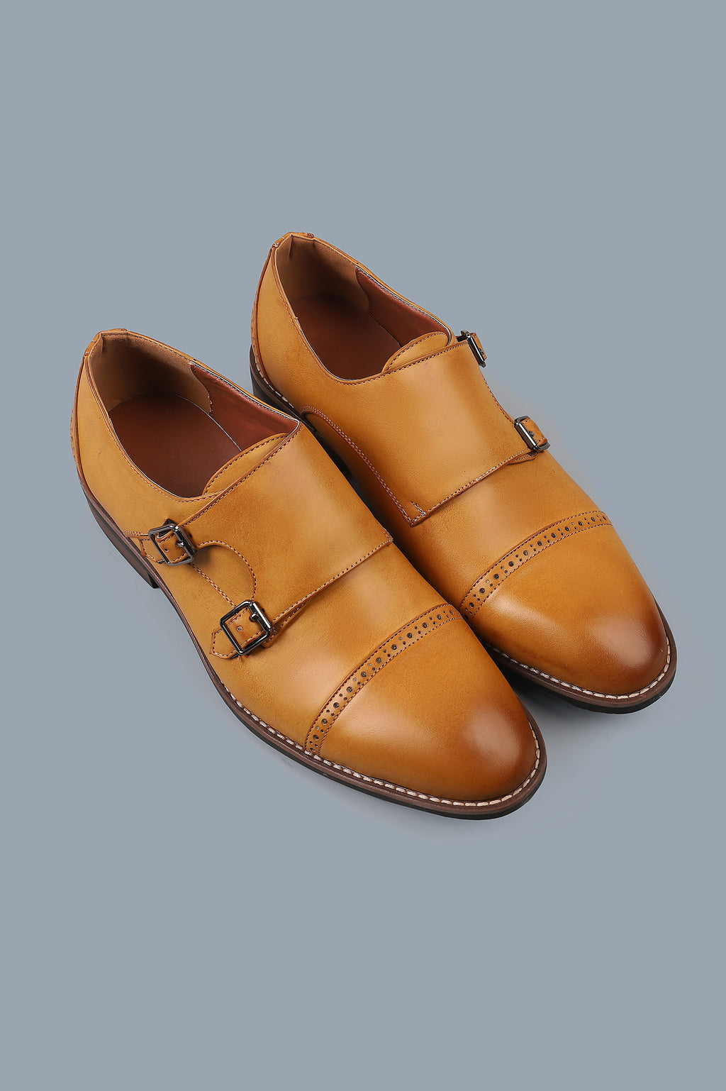 DOUBLE MONK SHOES-TAN