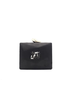 CUBIC SATIN CLUTCH-BLACK