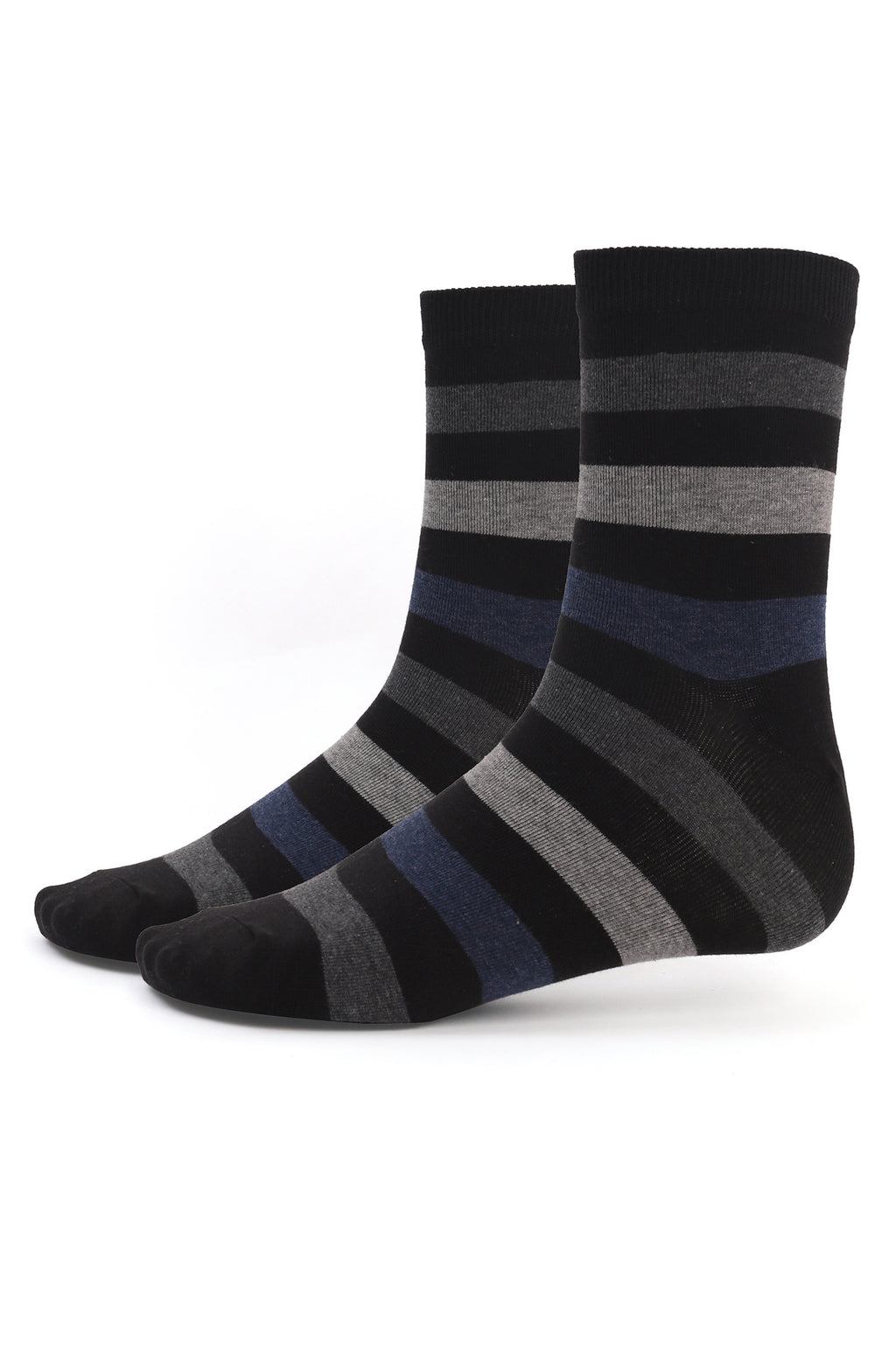 STRIPED SOCKS -BLACK-GREY