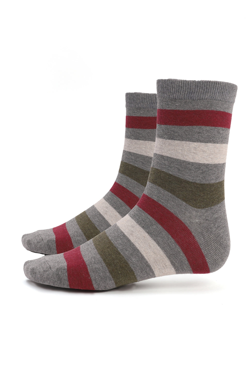 STRIPED SOCKS -GREY-GREEN
