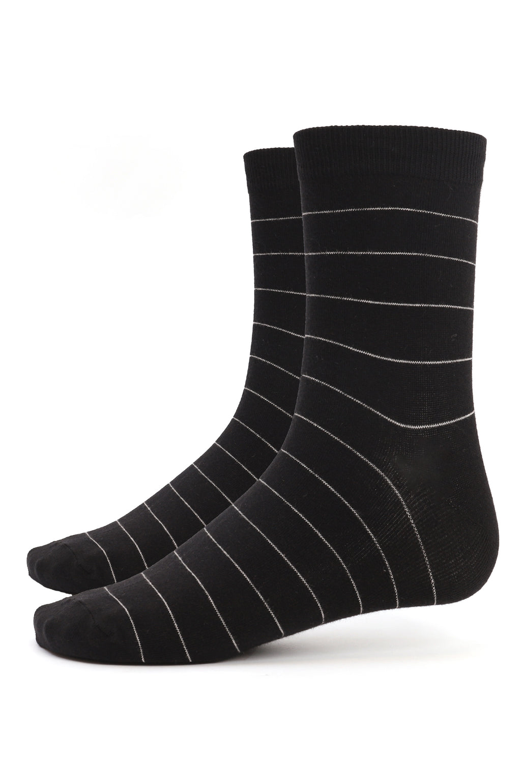 PINSTRIPE SOCKS-BLACK-WHITE