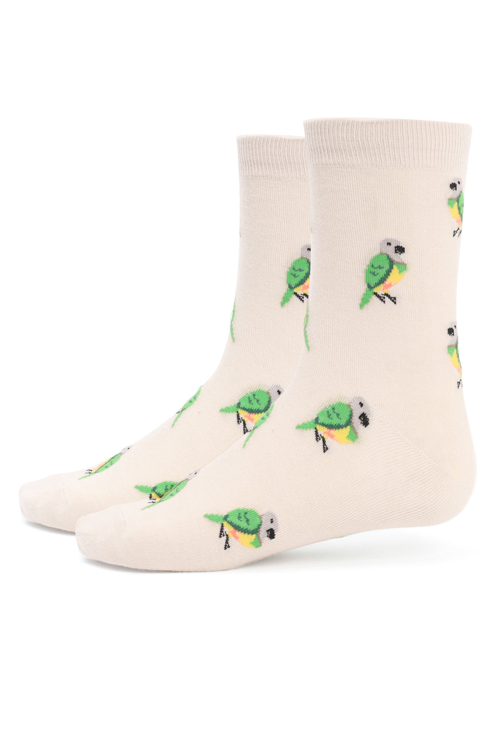 MACAW SOCKS-WHITE-GREEN