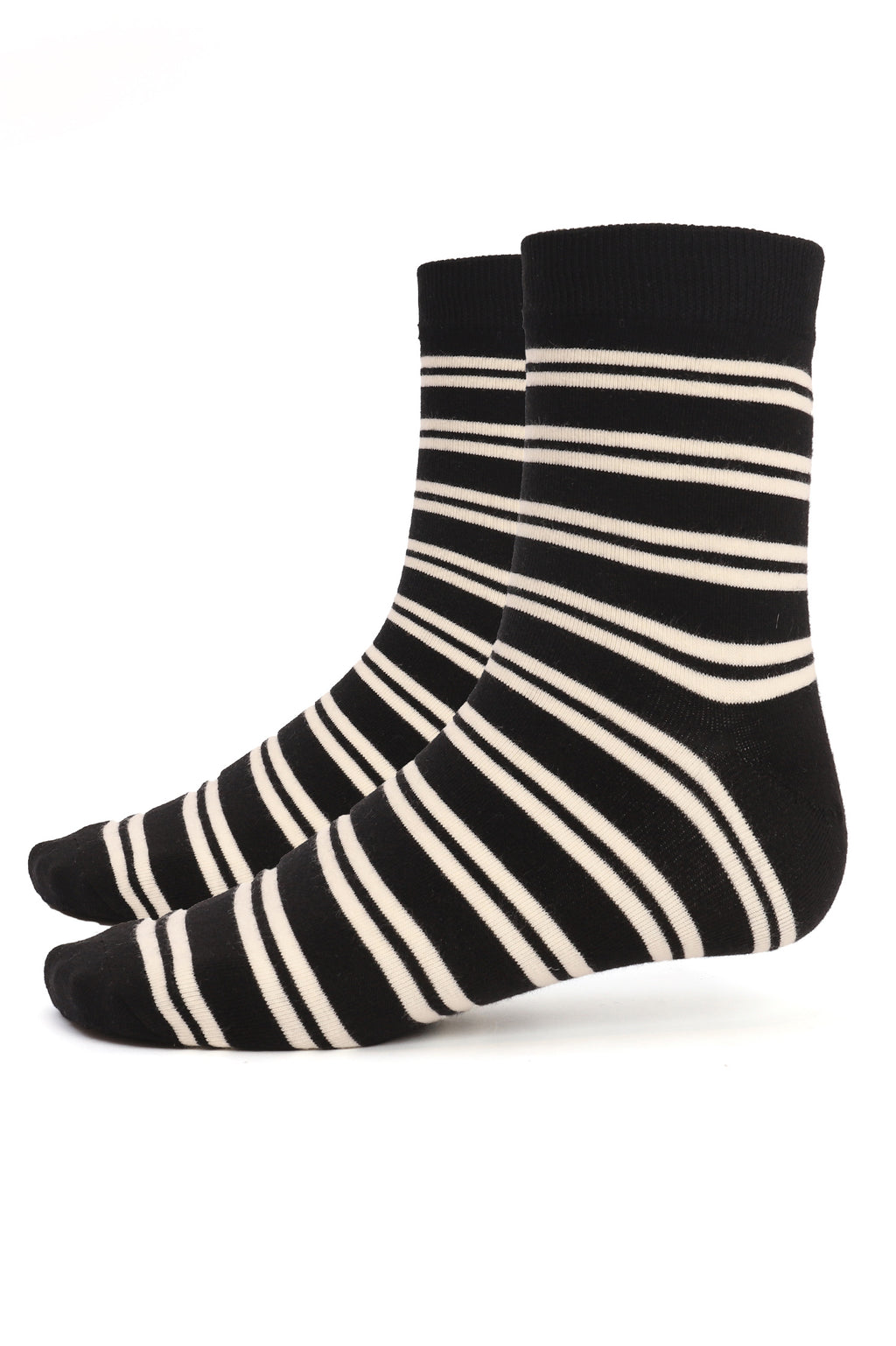 STRIPED SOCKS-BLACK-WHITE