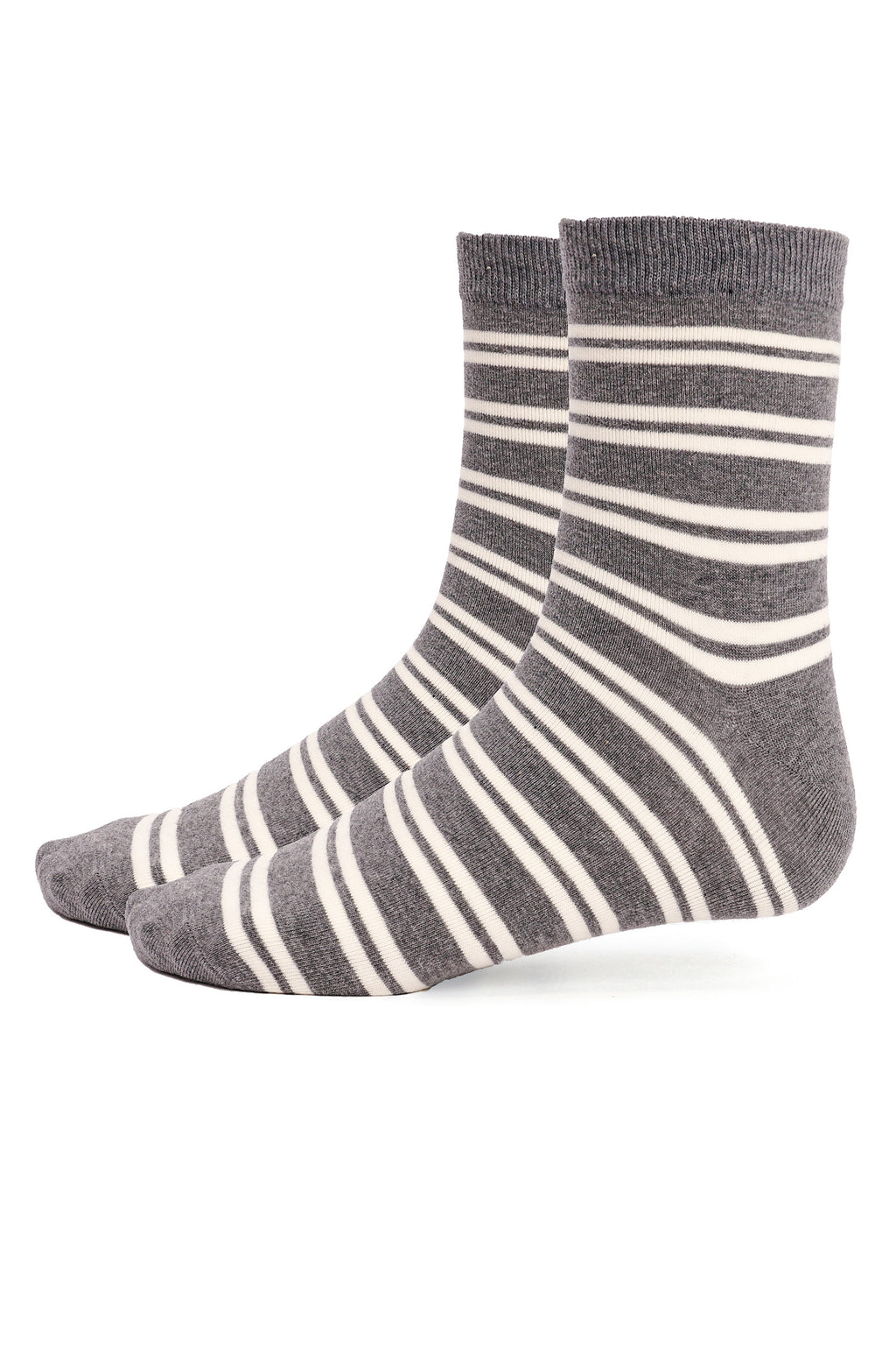 STRIPED SOCKS-GREY-WHITE