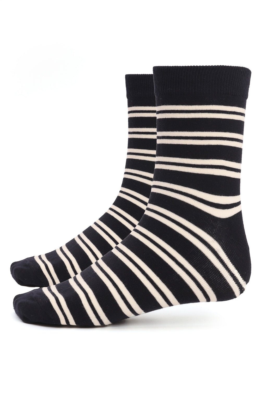 STRIPED SOCKS-NAVY-WHITE