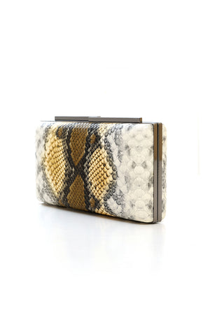 SNAKESKIN CLUTCH-YELLOW
