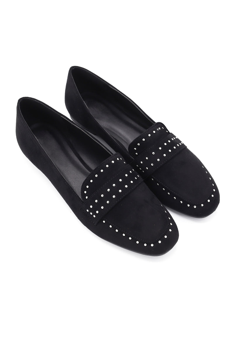 STUDDED LOAFERS-BLACK