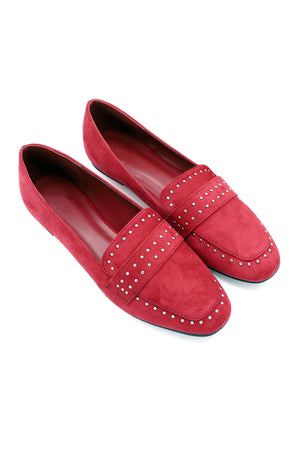 STUDDED LOAFERS-RED