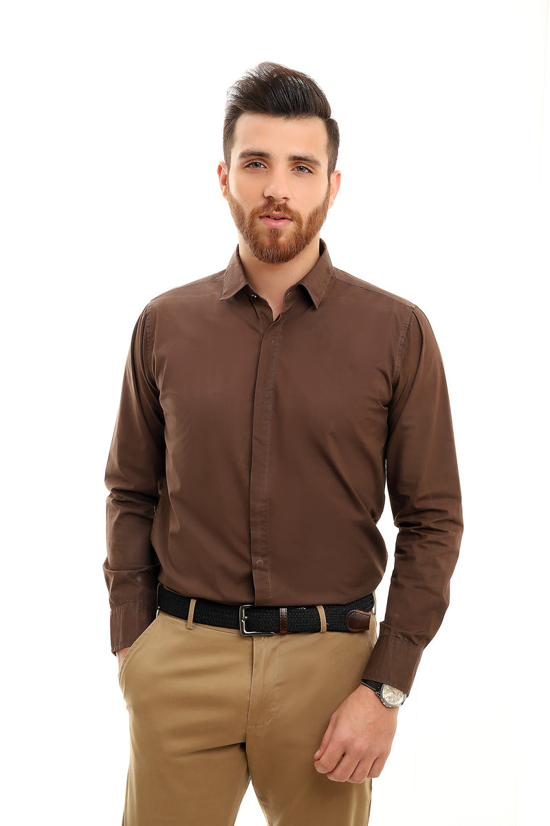 TAILORED-FIT SHIRT-COFFEE